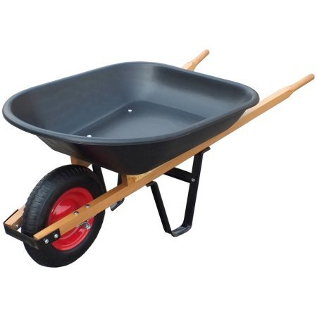 United General 4 Cubic Feet Poly Tray Wheelbarrow