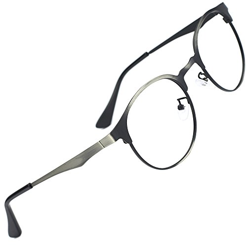 TIJN New Round Metal Non-prescription Glasses Frame with Clear - Glasses For New Lenses