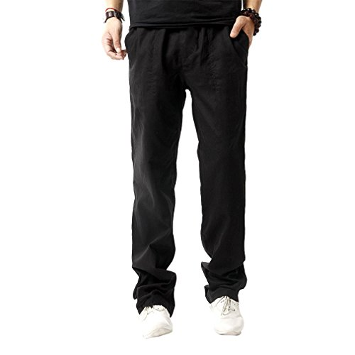 HOEREV Men Casual Beach Trousers linen  Summer Pants, Black, Large