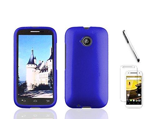 (Motorola Moto E LTE XT1527 (2015, 2nd Generation), Luckiefin Hard Rubberized Snap On Plastic Case Cover, Stylus, Screen Protector Accessory (Hard Blue))
