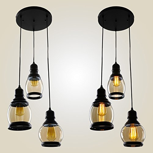 CO-Z 3-Light Cluster Chandelier Pendant, 3 Glass Jar Hanging Pendant Ceiling Lighting Fixture, Antique Black Mason Jar Pendant Light for Kitchen Island Dining Table Bar Counter Bedroom by CO-Z (Image #7)