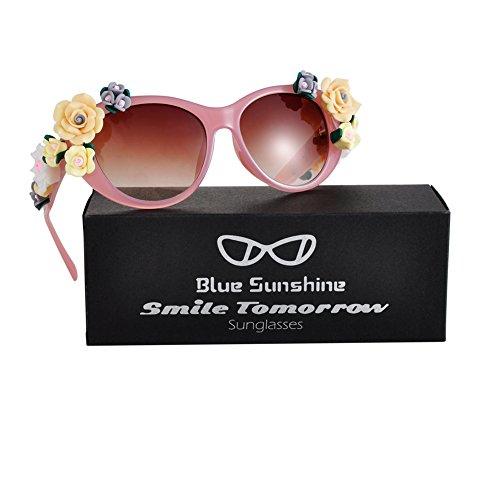 Sunglasses for Women Oversized Cat Eye Glasses Flowers Sunglasses Beach On Vaction UV400 - Women For Eyeglasses Trendy