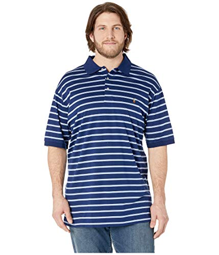 Big and Tall Soft-Touch Pima Cotton Polo Shirt Classic-Fit (2X Tall, Holiday Navy/Multi) (Classics Holiday Shirt)
