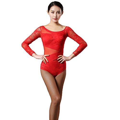 Wqwlf 4 Di Pizzo Splicing A Latino Posizioni Top Naturale Body Donne Abbigliamento Ballo M Red xxl 3 Da Prestazione Costume Manicotto Delle rXwPvrZSqA