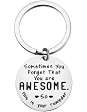 Funny Inspirational Birthday Christmas Gifts for Women Men - Sometimes You Forget You're Awesome Keychain for Best Friend Thank You Gift