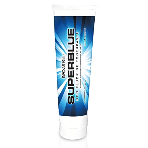Superblue Fluoride Free Toothpaste  4 Oz  Peppermint
