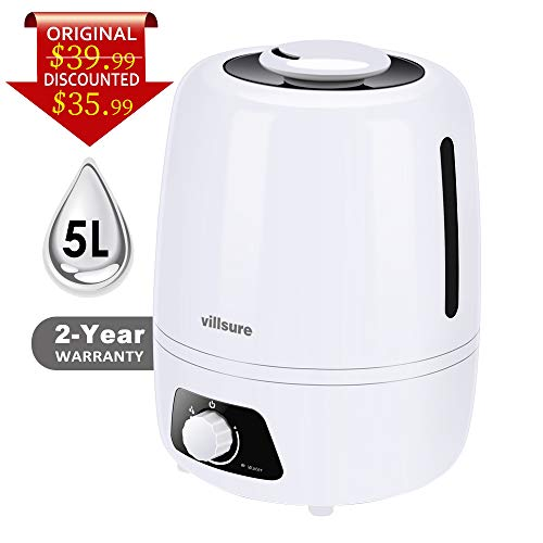 Winjoy Cool Mist Humidifier, 5L Home Ultrasonic Humidifiers for Bedroom and Babies, Large-Capacity Vaporizer for Large Room, Whisper-Quiet, Auto Shutoff, 360° Rotatable Mist Outlets, 2-Year Warranty