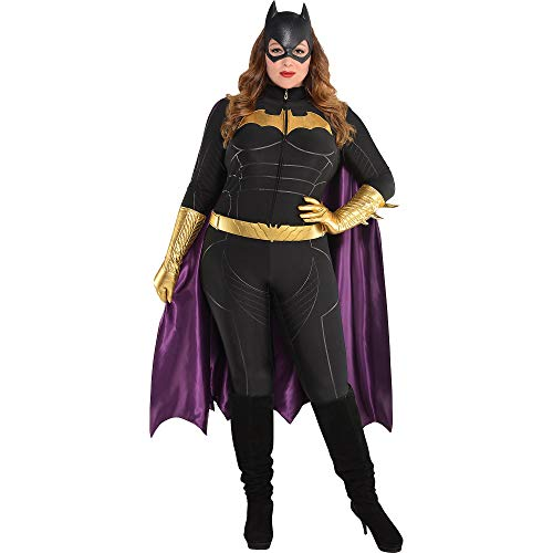 SUIT YOURSELF Batman Batgirl Jumpsuit Costume for Women, Plus Size, Includes a Bat Mask, a Cape, a Belt, and Gloves
