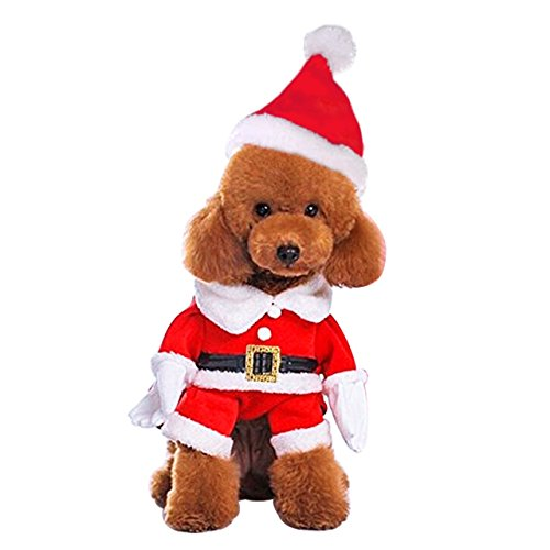 Mogoko Dog Cat Christmas Santa Claus Costume, Funny Pet Cosplay Costumes Suit with a Cap, Puppy Fleece Outfits Warm Coat Animal Festival Apparel Clothes (L Size) -