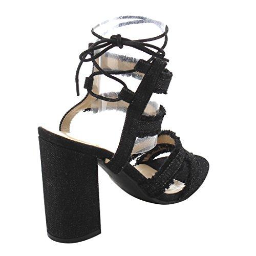 BONNIBEL FI92 Womens Chunky Heel Denim Ankle Strap Lace Up Dress Sandals Black M8IQl7Gki