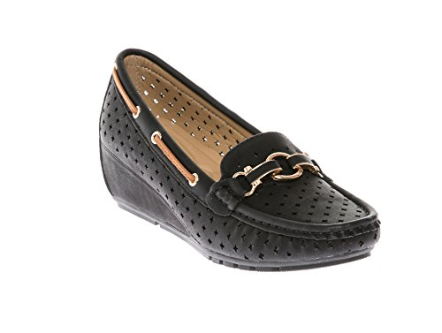 Heel Loafer Womens Shoes - CALICO KIKI SASHA-CK05 Women's Moccasin Slipper Wedge Loafers Slip-On Comfort Casual Nubuck (7 US, Black)