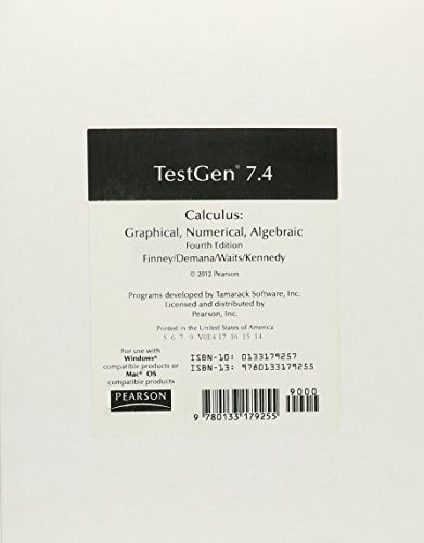CALCULUS 2012 TEST GENERATOR ON CD GRADE 11/12