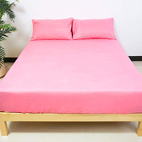 BestSeason Full Size Bed Sheets - Super Soft Luxury Hotel Deep Pocket Bedding Fits Pillow Top 4 Piece Set Pink Color -