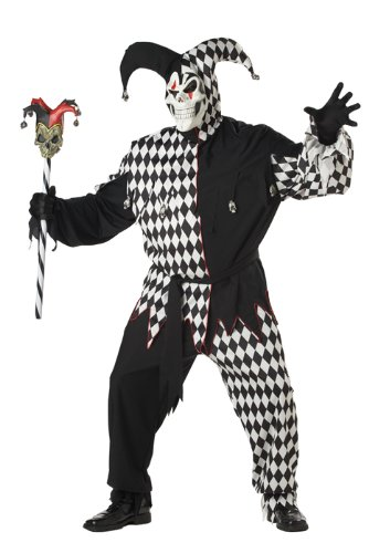 Jester Plus Size Costumes (California Costumes Men's Plus Size- Black Evil Jester, Black/White, PLUS (48-52) Costume)