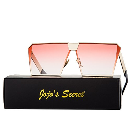 JOJOS SECRET Oversized Square Sunglasses Metal Frame Flat Top Sunglasses JS009 (Gold/Transparent red, 2.48)