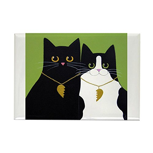 CafePress Black & Tuxedo CATS In Love ART Magnets Rectangle Magnet, 2