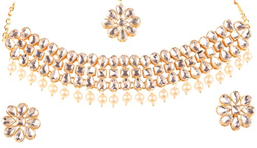 Touchstone New Indian Bollywood Desire Exclusive Mughal Era Inspired Stylish Traditional Kundan Polki Look Faux Pearl Designer Jewelry Choker Necklace Set in Antique Gold Tone for ()