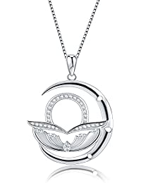"<span class=""a-offscreen"">[Sponsored]</span>Moon Horoscope Signs of Zodiac Pendant Necklace with Cubic Zirconia, Fashion Constellation Jewelry, 18"""