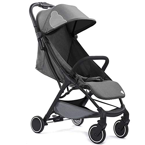 Babysing Compact Fold Lightweight Travel Stroller, Extended Canopy, Reclining Seat, Airplane Friendly, One-Hand Fold, Grey,5.5KG