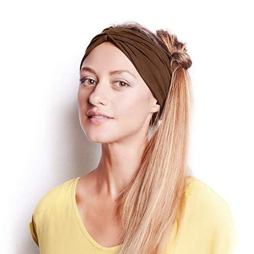 GDJGTA Headband Women or Girls Cotton Knotted Turban Head Warp Hair Band Wide Elastic Sport Yoga Headband