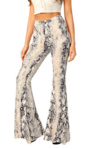WDIRARA Women's High Waist Casual Snakeskin Long Pants Stretchy Flare Trousers Multicolor M (Snake Bell)