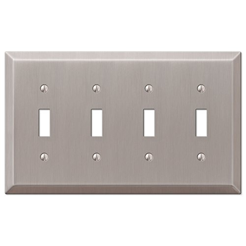 Brushed Nickel Switchplate Covers (Amerelle 163T4BN Century Steel 4 Toggle Wallplate, Brushed Nickel)