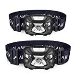 AIPROV Rechargeable LED Headlamp Flashlight 200 Lumen, Smart Sensor Waterproof Light Bright White Led + Red Light(SOS) Headlight for Running,Camping,Hiking, Walking, and More Outdoor Sports 2 Pack