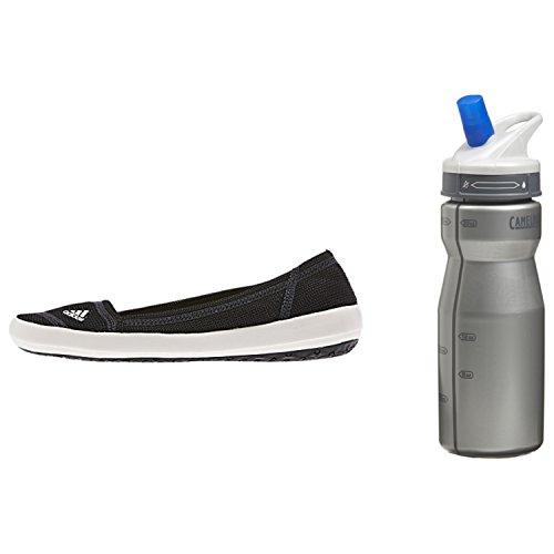 Adidas Women's Boat Slip-On Sleek Shoe (Black/Chalk/Dark Shale) - 7.5 with Free