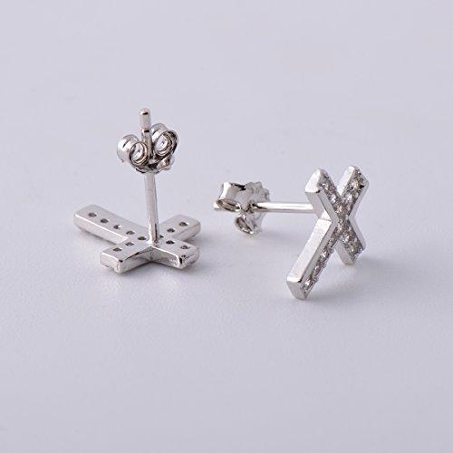 925 Sterling Silver Mini Cross CZ Earring Studs