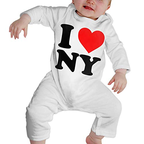 New York Baby Gown - I Love NY New York Unisex Long Sleeve Baby Gown Baby Bodysuit Unionsuit Footed Pajamas Romper Jumpsuit White