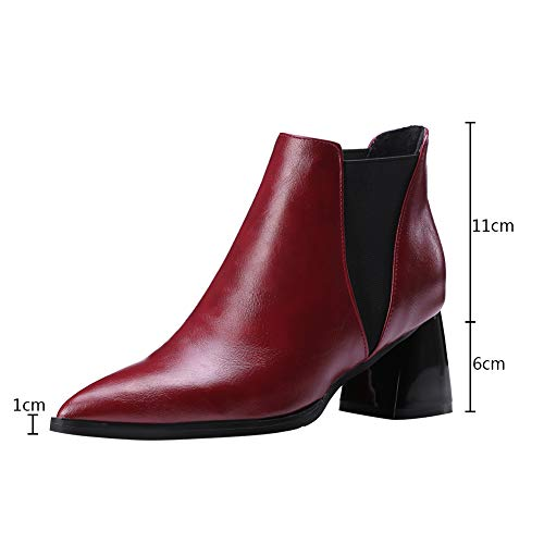 Chaussures Moyen Heels Femmes Fourrure gris Pour Pu Bout rouge Doublure Chelsea Cuir Automne Hiver En Rouge Block Pointu Noir Bottines Découpées Talons Bigtree daqFSd