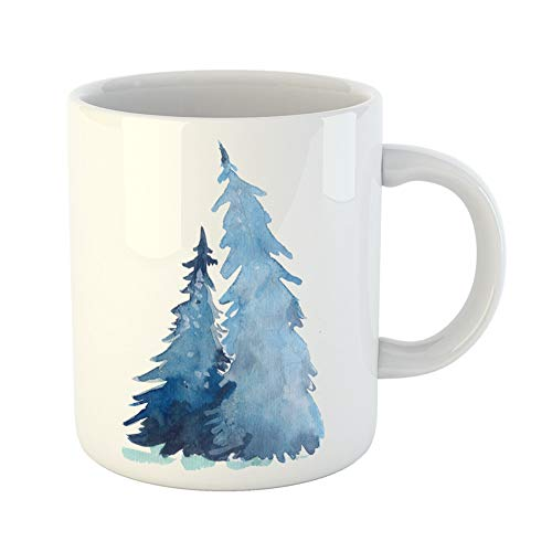 (Emvency Coffee Tea Mug Gift 11 Ounces Funny Ceramic Green Christmas Fir Tree in Watercolor Celebration Gifts For Family Friends Coworkers Boss Mug)