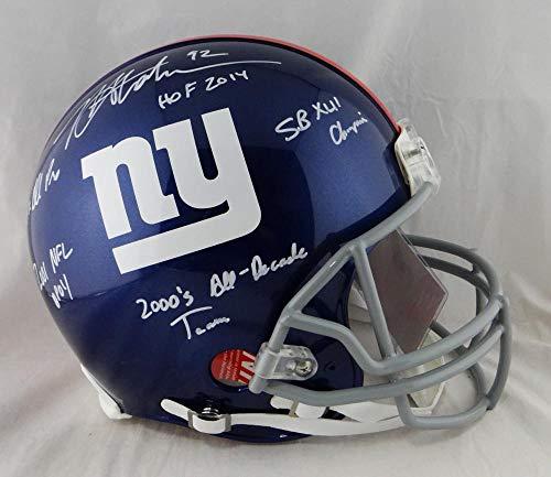 (Michael Strahan Autographed NY Giants F/S ProLine Helmet w/ 5 Insc- JSA W)