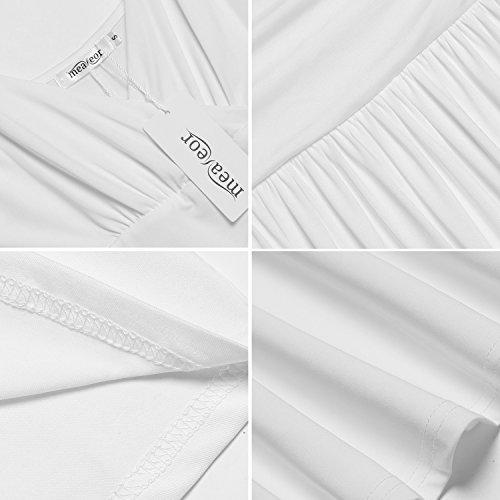 Meaneor Vestido para Mujer V cuello Larga Solido Casual de Fiesta Perfecta Blanco
