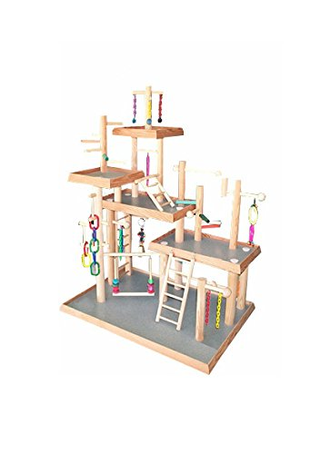 BirdsComfort Five Levels Bird Play Gym, Bird Activity Center, Wood Table Top Playstation for Senegals, - Base: 30'' x 20' , Overall Height: 40'' - 5 levels by Bird Gyms