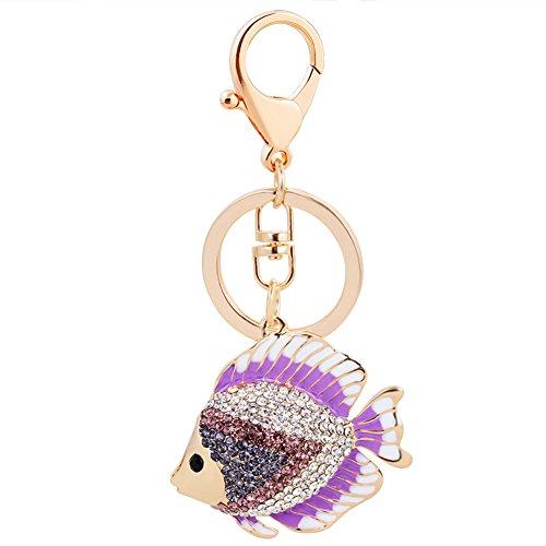 (Key Keychain,Animal Keychains Cute Plated Full Rhinestone Fish Keychains for Clothing&Accessories Keychain,Purple)