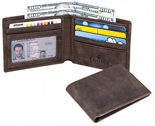 Lositto RFID Blocking Genuine Leather Wallet for Men-Excellent as Travel Bifold (Texas brown - vintage top grain leather)