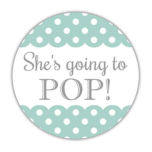 40 She's Going to pop Stickers, 2 inches - Ready to pop Labels - Baby Shower Popcorn Favors (Aquamarine)