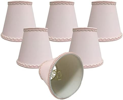 Royal Designs, Inc CSO-1042-5PNK-6 Royal Designs Pink Empire Chandelier Lamp Shade with Decorative Trim, 3 x 5 x 4.5 , Clip-On-Set of 6, 6 Piece