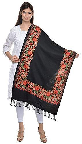 The MadhuSudan Gallery Kashmiri Embroidery Indian Shawl Stole Scarf Wrap (Black, 28 inch x 80 inch)