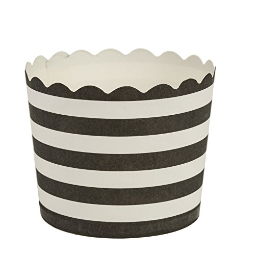 Blue Sky 1254 16 Count Scalloped Stripe Cupcake Baking Cups, Large, Black/White]()