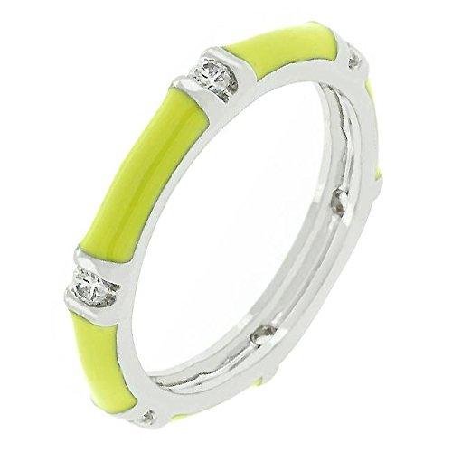Enamel Stacker - Glam Jewels Yellow Enamel Stacker Fashion Ring for Women CZ Cubic Zirconia Rhodium Plated Brass Bar Setting