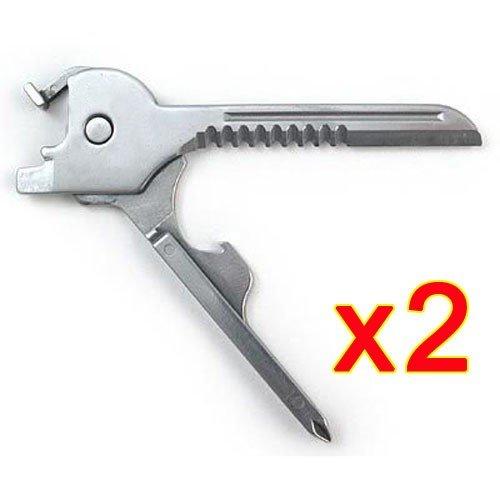 (Adealink 2 Pcs 6 In 1 Utili-Key Mini Multitool Keyring Pocket Stainless Steel Folding Swiss Tech Simple)