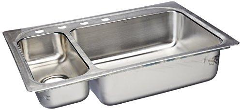Moen 2000 Series G202864 Stainless Steel 20 Gauge Double Bowl Drop in Sink, 33X22-Inch