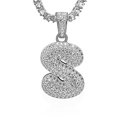 925 Sterling Silver White Gold-Tone Iced Out Hip Hop Swag Bling Bubble Letter S Pendant with 24'' 1 Row Chain by iRockBling