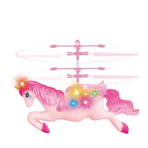 jinyu Flying Unicorn Toys Remote Controll and Hand Control Helicopter Drones for Kids Flying Fairy Unicorn Doll Hovering Aircraft for Indoor Flying