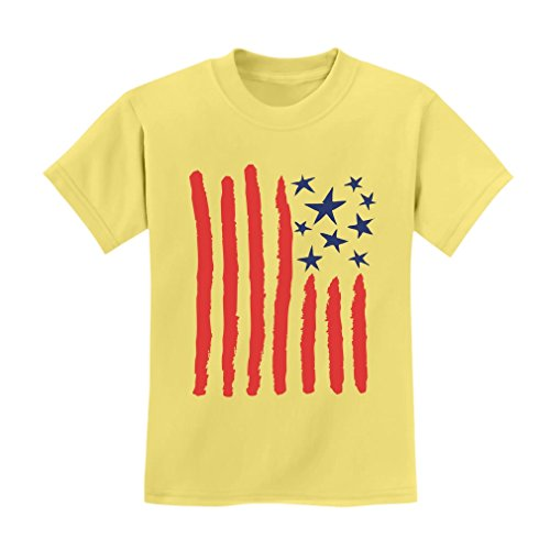 Children's Drawing USA Flag - 4th of July American Flag Kids T-Shirt X-Small Yellow Haze