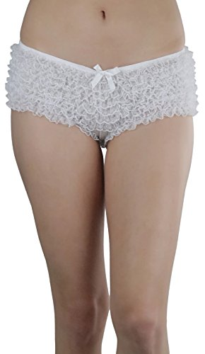 Chiffon Panty (ToBeInStyle Women's Micro Mesh Chiffon Ruffled Lace Boyshort Panties - White)