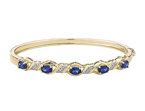 (Created Blue Sapphire Bangle with Diamonds in Sterling Silver with 14K Yellow Gold Pating )