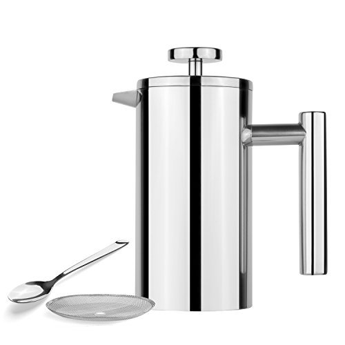 Sterling Silver Soda - AmoVee French Press Coffee Maker Tea Maker, 304 Stainless Steel Double Insulation, with Coffee Spoon and Bonus Screen (350ML, 12 oz)